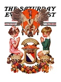 """""""Thanksgiving Crest,"""" Saturday Evening Post Cover, November 26, 1932 Giclee Print by J.C. Leyendecker"""