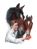 """Boy Feedy Apple to Horses,""July 14, 1923 Giclee Print by Leslie Thrasher"