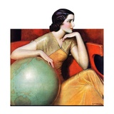 """Woman and Globe,""May 12, 1934 Giclee Print by Wladyslaw Benda"