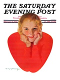 """Valentine Girl,"" Saturday Evening Post Cover, February 13, 1932 Giclee Print by Charles E. Chambers"