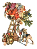 """Santa Up a Ladder,""December 20, 1930 Giclee Print by Joseph Christian Leyendecker"