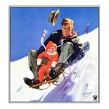 """Father and Child on Sled,""February 1, 1934 Giclee Print by Henry Hintermeister"