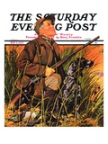 """Hunter and Dog in Field,"" Saturday Evening Post Cover, November 9, 1935 Giclee Print by J.F. Kernan"