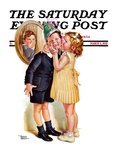 """Birthday Kiss,"" Saturday Evening Post Cover, March 5, 1938 Giclee Print by Frances Tipton Hunter"
