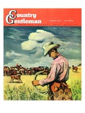 """Herding Cattle,"" Country Gentleman Cover, January 1, 1942 Giclee Print by George Schreiber"