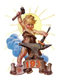 """Forging a New Year,""December 27, 1930 Giclee Print by J.C. Leyendecker"