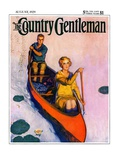 """""""Couple Paddling Caone,"""" Country Gentleman Cover, August 1, 1929 Giclee Print by McClelland Barclay"""