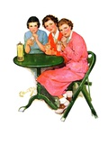 """Girls Sipping Sodas,""September 21, 1935 Giclee Print by Ellen Pyle"