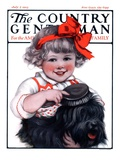 """Little Girl Brushing Dog,"" Country Gentleman Cover, July 7, 1923 Giclee Print by E.M. Wireman"