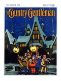 """Christmas Carolling in Village at Night,"" Country Gentleman Cover, December 1, 1930 Giclee Print by Nelson Grofe"