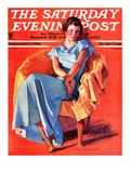 """Woman in Chair,"" Saturday Evening Post Cover, September 1, 1934 Giclee Print by F. Sands Brunner"