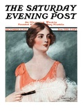 """White Feathered Fan,"" Saturday Evening Post Cover, December 12, 1925 Giclee Print by William Haskell Coffin"