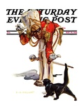 """Drum Major and Black Cat,"" Saturday Evening Post Cover, May 28, 1938 Giclee Print by Samuel Nelson Abbott"