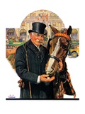 """Coachman and Horse,""November 29, 1930 Giclee Print by J.F. Kernan"