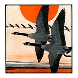 """Flock of Geese in Formation,""November 15, 1924 Giclee Print by Paul Bransom"
