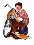 """Decorating His Bike,""March 20, 1937 Giclee Print by Douglas Crockwell"