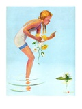 """""""Girl and Water Lilies,""""September 7, 1935 Giclee Print by Penrhyn Stanlaws"""