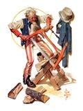 """Uncle Sam Sawing Wood,""July 2, 1932 Giclee Print by Joseph Christian Leyendecker"