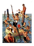"""Crowd of Boys Swimming,""July 28, 1928 Giclee Print by Eugene Iverd"