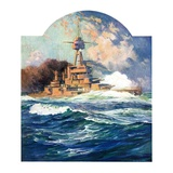 """Battleship at Sea,""April 9, 1932 Giclee Print by Anton Otto Fischer"