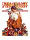 """Fireman with Winning Hand,"" Saturday Evening Post Cover, March 12, 1938 Giclee Print by Samuel Nelson Abbott"