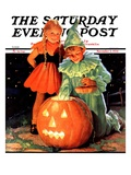 """Lighting the Pumpkin,"" Saturday Evening Post Cover, November 3, 1934 Giclee Print by Eugene Iverd"