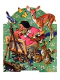 """Artist and Animals,""May 26, 1934 Reproduction procédé giclée par J.C. Leyendecker"