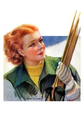 """Woman with Snow Skis,""March 2, 1935 Giclee Print by Bradshaw Crandall"
