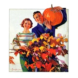 """Couple in Fall,""October 1, 1935 Giclee Print by F. Sands Brunner"