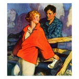 """Meeting by the Fence,""April 1, 1926 Giclee Print by McClelland Barclay"