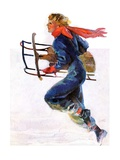 """Woman Sledder,""January 19, 1935 Giclee Print by John LaGatta"