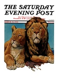 """Lion Couple,"" Saturday Evening Post Cover, March 19, 1932 Giclee Print by Lynn Bogue Hunt"