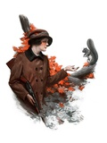 """Woman Hunter Feeding Squirrel,""November 3, 1923 Giclee Print by Charles A. MacLellan"