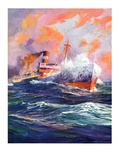 """Wave Breaks over Steamer,""March 21, 1936 Giclee Print by Anton Otto Fischer"