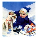 """Sledding Wipeout,""January 1, 1938 Giclee Print by Tom Webb"