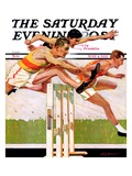 """Hurdlers,"" Saturday Evening Post Cover, May 4, 1935 Giclee Print by Maurice Bower"