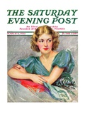 """Woman in Teal,"" Saturday Evening Post Cover, March 11, 1933 Giclee Print by Marland Stone"