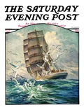 """Storm at Sea,"" Saturday Evening Post Cover, October 31, 1931 Giclee Print by Anton Otto Fischer"
