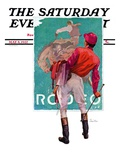 &quot;Jockey Looks at Poster,&quot; Saturday Evening Post Cover, May 8, 1937 Giclee Print by John Sheridan