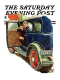 """Flat Tire, Flat Evening,"" Saturday Evening Post Cover, November 24, 1934 Giclee Print by Ellen Pyle"