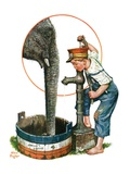 """Watering the Elephant,""July 16, 1927 Giclee Print by Alan Foster"