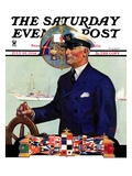 """Ship's Captain,"" Saturday Evening Post Cover, July 28, 1934 Reproduction procédé giclée par Edgar Franklin Wittmack"