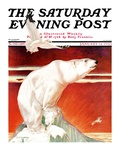 """Polar Bear on Iceberg,"" Saturday Evening Post Cover, January 14, 1933 Giclee Print by Jack Murray"