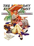 """""""Retired Couple at Beach,"""" Saturday Evening Post Cover, February 20, 1937 Giclee Print by J.C. Leyendecker"""