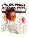 """Boy Drawing Stick Figures,"" Saturday Evening Post Cover, December 11, 1937 Giclee Print by Douglas Crockwell"