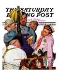 """World's Fair Traveler,"" Saturday Evening Post Cover, July 15, 1939 Giclee Print by Emery Clarke"
