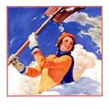 """""""Woman Shoveling Snow,""""February 1, 1935 Giclee Print by John Newton Howitt"""
