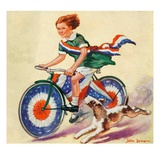 """Fourth of July Bike Ride,""July 1, 1934 Giclee Print by John Drew"
