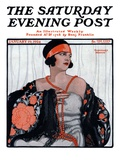 """Flapper in Shawl and Beads,"" Saturday Evening Post Cover, January 19, 1924 Giclee Print by G. Moore"