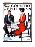 """Cross Words,"" Country Gentleman Cover, February 21, 1925 Giclee Print by Harold Brett"